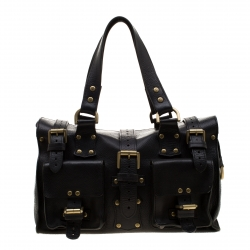 5dc7bf1e15 Mulberry Black Leather Roxanne Satchel