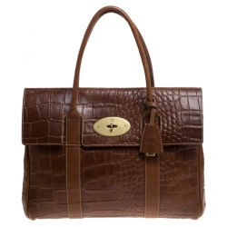 Mulberry Tan Croc Embossed Leather Bayswater Satchel
