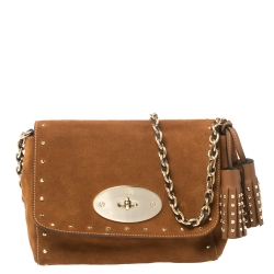 Mulberry Brown Suede Small Lily Crossbody Bag