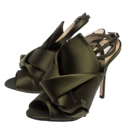 N°21 Green Satin Ronny Pleated Ankle Wrap Peep Toe Sandals Size 37