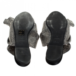 N21 Metallic Brown Leather Crystal Embellished Bow Mules Size 36
