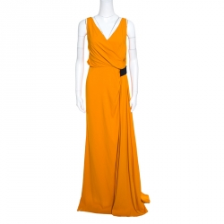 N21 Mustard Yellow Asymmetric Pleat Detail Lace Trim Maxi Dress L