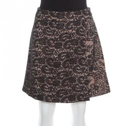 N21 Black and Pink Floral Lace Faux Wrap Mini Skirt M