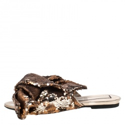 N21 Metallic Bronze Sequin Knotted Flat Slides Size 39