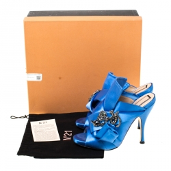 N°21 Blue Embellished Satin Knot Mules Sandals Size 36