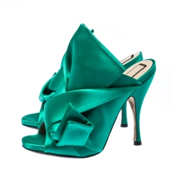 N21 Emerald Green Satin Raso Knot Peep Toe Mules Size 37