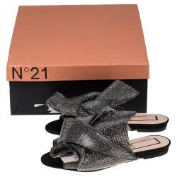 N°21 Metallic Grey Leather Crystal Embellished Bow Flat Mules Size 36