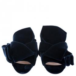 N21 Dark Blue Velvet Knot Flat Mules Size 38