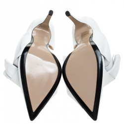 N°21 White Leather Tundra Knotted Pointed Toe D'orsay Pumps Size 41