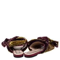 حذاء سلايدز N21 فلات عقدة زخرفة ترتر متعدد الألوان مقاس 40
