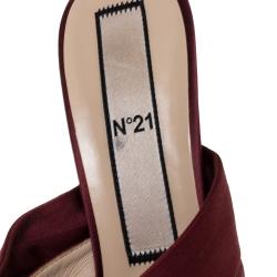 """صندل """"إن21"""" مزين بمقدمة مفتوحة مزينة بعقدة ساتان عنابي مقاس 42"""