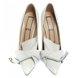 N21 White Leather Knot Pointed Toe Pumps Size 38.5