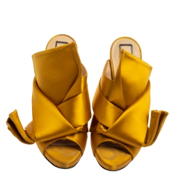 N21 Mustard Yellow Satin Ronny Pleated Slide Sandals Size 36