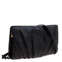 Nancy Gonzalez Black Glitter Python Crossbody Bag