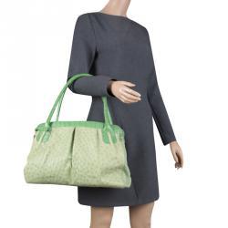 Nancy Gonzalez Green Ostrich Leather Satchel
