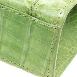 Nancy Gonzalez Kelly Green Crocodile Sherbert Clutch