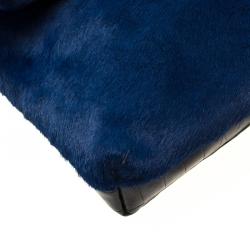 Nancy Gonzalez Black/Blue Crocodile and Calfhair Clutch