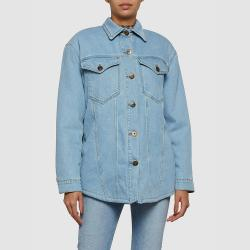 NANUSHKA LIGHT DENIM Nusta Faux-Shearling Lined Denim Jacket M