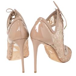 Nicholas Kirkwood Beige Lace And Patent Phoenix Sandals Size 41