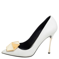 Nicholas Kirkwood White Leather Hexagon Pointed Toe Pumps Size 38.5