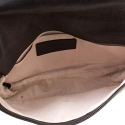 Nina Ricci Metallic Black Leather Flap Shoulder Bag