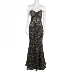 Notte By Marchesa Black Sequined Metallic Floral Lace Strapless Gown M