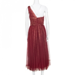 Notte by Marchesa Burgundy Embellished Pleated Tulle Overlay One Shoulder Dress M