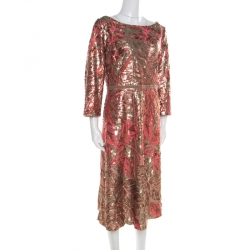 Notte by Marchesa Pink and Gold Floral Sequined Midi Tea Dress XL