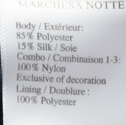 Marchesa Notte Navy Blue Taffeta Embroidered Bodice Detail Mikado Gown XL