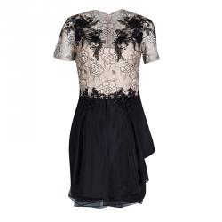 Notte By Marchesa Beige and Black Floral Lace and Silk Organza Mini Dress M