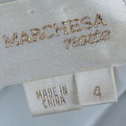 Notte By Marchesa Organza Ruffles Off-White Cocktail Dress S