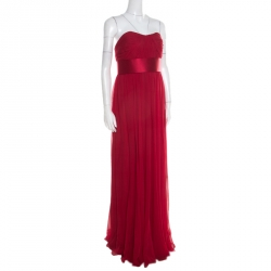 f84c45f64f Notte By Marchesa Scarlet Silk Chiffon Pleated Bodice Strapless Gown M