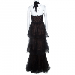 Notte By Marchesa Black Tiered Halter Lace Evening Gown M
