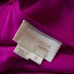 Notte By Marchesa Fuschia Pink Silk Chiffon Ruffle Hem Detail Short Dress L