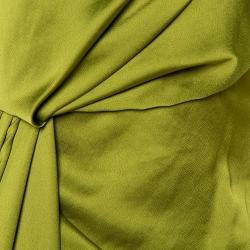 Off-White Olive Green Satin Draped Asymmetric Dress S