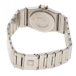 ساعة يد نسائية أوميغا كونستليشن ذهب عيار 18 وستانلس ستيل مينا ذهبية 22 مم