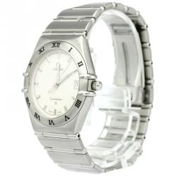 Omega Silver Stainless Steel Constellation Women's Wristwatch 33MM