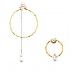 Oscar de la Renta Even Odd Faux Pearl Gold Tone Earrings