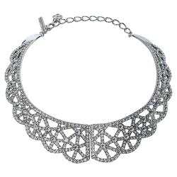 Oscar de la Renta Crystal Embellished Silver Tone Bib Necklace