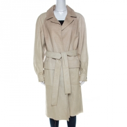 Oscar de la Renta Beige Perforated Python Embossed Leather Belted Coat L