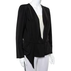 Oscar de la Renta Black Knit Draped Detail Collarless Button Front Blazer XL