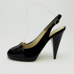Oscar De La Renta Black Leather & Suede Peep Toe Platform Slingback Sandals Size 40