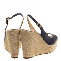 Paloma Barceló Blue Leather Espadrilles Wedge Slingback Sandals Size 41