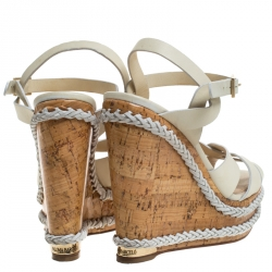 Paloma Barceló Ivory Strappy Leather Ankle Strap Platform Wedge Sandals Size 39