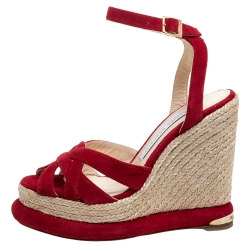 Paloma Barceló Red Suede Leather Espadrille Wedge Platform Ankle Strap Sandals Size 36.5