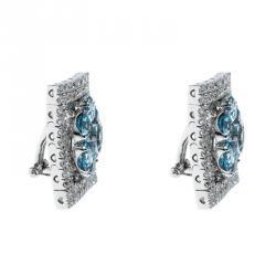 Pasquale Bruni Diamond Blue Colored Gemstone 18k White Gold Clip-on Stud Earrings