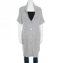 1c0547b58bd4 Paul   Joe Grey Chunky Knit Short Sleeve Long Cardigan L