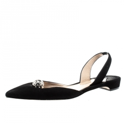 Paul Andrew Black Suede Rhea Jewel Pointed Toe Flats Size 39