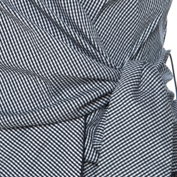 Paule Ka Black and White Gingham Tie Knot Wrap Shirt S