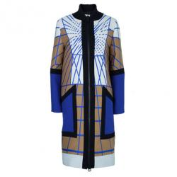 Peter Pilotto Colour-Block Printed Woolen Coat L